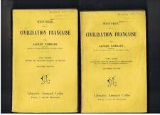 HISTOIRE DE LA CIVILISATION FRANCAISE ALFRED RAMBAUD  LOT 2 TOMES  1900/01