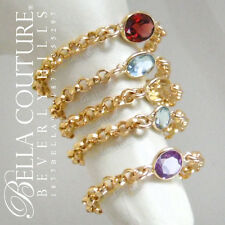 BC® NEW $399 VICTORIAN 14K GOLD CITRINE ANTIQUE VTG DIAMOND CUT GEM CHAIN RING 7