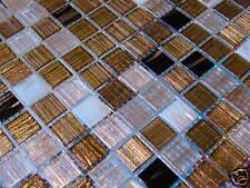 1qm Glasmosaik Fliese Mosaik GOLDENE SEIDE GOLDREGEN S3