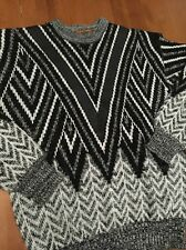 VTG. Leather Trim XL Sweater With Geometric 80's Pattern By Chartwell