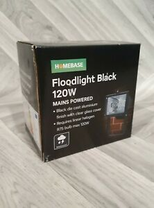 Exterior Halogen Floodlight Black 120W Mains Powered Security NEW x1