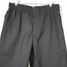 Designer Chef Pants Black 2xl C17 Fame Fabrics Elastic Waist 3 Pocket Zippered