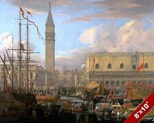DEPARTING VENICE ITALY SCENIC SHIPS SEASCAPE ART PAINTING REAL CANVAS PRINT
