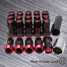 20 HD STEEL 44MM CLOSE END RED TUNER LUG NUT 12X1.5mm W/ SUCKET&KEY FOR CIVIC