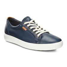 Ecco Shoes Soft 7 Womens Ladies Blue Leather Lace Up Shoes Trainers Size UK 4-8