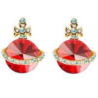 Red & Gold Crystal Orb UFO Cross Stud Earrings E767