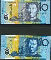 Australia Mint 1993-2015 1st-Last $10 Polymer Series Pair - Stevens/Fraser/Evans