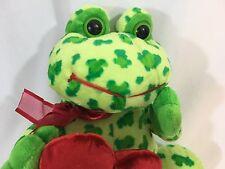 "Dan Dee Collector's Choice Plush Frog Cheetah Print Red Heart Hugs & Kisses 10"""