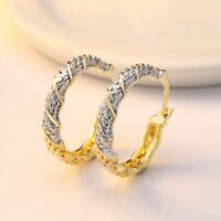 Women Elegant 18k Gold Filled White Topaz Dangle Drop Earrings Jewelry Gift New