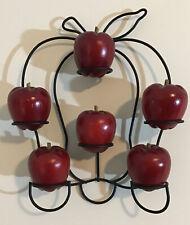 Vintage Carved Wooden Apples Fruit Rustic Wood Set of 6 + Wall Rack Display