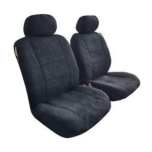 New Arrival 2pcs Sheepskin Black Velour Front Car Seat Cover Universal Size