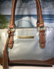 tignanello vintage leather Shoulder Bag Purse Blue Brown Large Multi Compartment