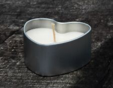 10 x LOVE HEART Silver CANDLE TINS Unscented Pure Eco Soy Wax WEDDING FAVOURS