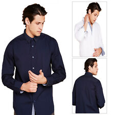 Mens Brave Soul Button Up Shirt Smart Cotton Long Sleeve Polka Dot Collared Top