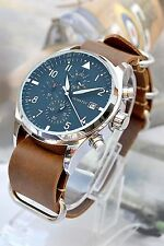 Aviator Fighter Pilot Style Chronograph Quartz Watch Leather Ring Watch band