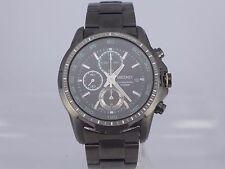 Seiko 7T92 black dial Flightmaster quartz chrono 100m PVD sport watch sapphire