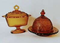 """Set Of 2 Vintage Indiana/Tiara Glass Amber 7"""" Candy Sandwich Dishes With Lids"""
