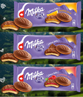 MILKA JAFFA COOKIES - 122G 147G ORANGE RASPBERRY JELLY SOFT CHOCO BISCUIT CAKES