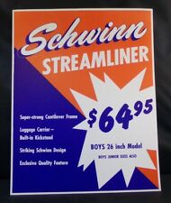 "** SCHWINN STORE DISPLAY SIGN ORIGINAL STREAMLINER BIKE 14"" x 10¾"" **"