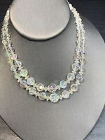 """1950S  Aurora Borealis Glass Crystal Beaded Two Strand Flower Girl Necklace  14"""""""