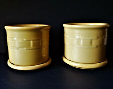 Vintage Longaberger Pottery Yellow Gold Planters