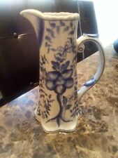 """Vintage Water Pitcher Porcelain Blue and White  8 1/4"""" Tall"""