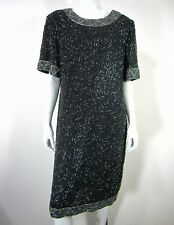 Gtenay Short Sleeve Dress Silk Plus Size 18 Black Beaded