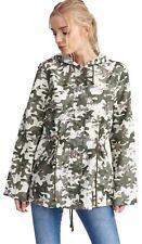 Womens Plus Size Monyl Camo Print Back 72 Star Design Hooded Mac Jackets 8-24