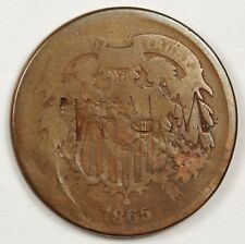 "1865 Two Cent Piece.  Counter stamped ""W.R.M."" both sides.  119695"