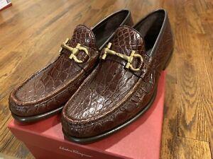 Salvatore Ferragamo Mason 2 Brown Crocodile Gold Buckle Shoes 7EE $2,500 Rare!