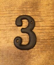 "Solid Cast Iron House Address Number THREE 3 1/2"" tall 0184S-13021-3"