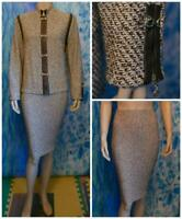 ST. JOHN Collection Knits Brown Cream Jacket Skirt L 12 14 2pc Suit Leather Trim