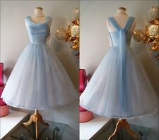 Vintage 1950's Tea Length Cinderella Blue Cocktail Prom Evening Bridesmaid Dress