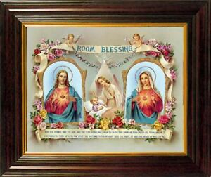 Blessing Framed Picture Room Blessing Sacred Hear & Mary Mother of Jesus