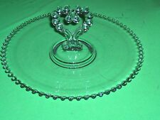 Vintage Imperial Glass Candlewick Sandwich Serving Tray Heart Shape Handle NICE