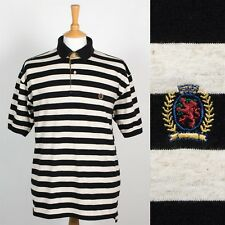 MENS TOMMY HILFIGER STRIPED POLO T-SHIRT SHIRT SOFT JERSEY COTTON CASUAL L