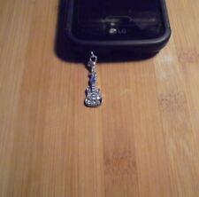 Rhinestone Guitar Cell Phone Clip Charm~Dust Plug Cover~Free Ship