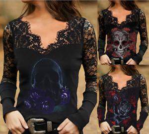 Women Gothic Skull Print Lace V Neck Top Ladies Blouse Long Sleeve T-Shirt E920