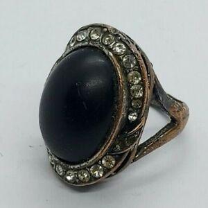 Rare Ancient Bronze Ring Style Viking Black Stone Legionary Authentic Artifact