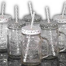 6 Longdrinkgläser mit Trinkhalm und Deckel, Strohhalm Cocktailgläser, Trink Glas