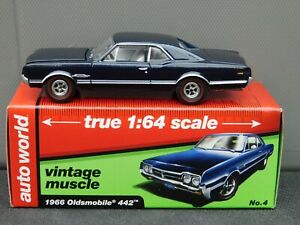 Auto World 1966 Oldsmobile 442 Dark Blue Metallic 1/64 Scale Mint with Box