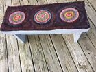 Rustic Wood Footstool Or Bench With Hooked Penny Rug Runner Folk Art Colorful