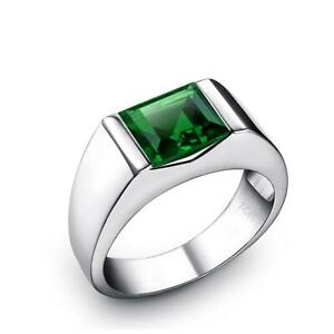 Male Ring Band with Square Emerald in Solid 10K White Gold Green Gemstone Gift