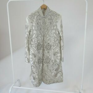 Silver Embroidered Beaded Sherwani 40 Mens Groom Wedding White Embellished Smart