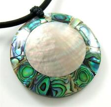 "Handmade 2.2"" Abalone Shell Mother of Pearl Cord necklace 16"" to 27"" adj ; EA190"