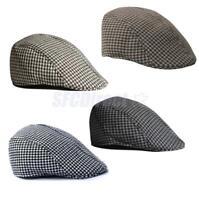 Mens Womens Houndstooth Baseball Cap Peak Casquette Pageboy Gasby Beret Warm Hat