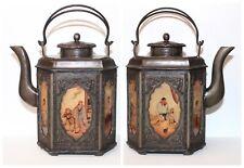 ANTQ Chinese ZEN BUDDHIST Metal Tea Pot Reverse Painted Scenic Glass Panels