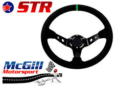 Str A la Deriva Volante Negro Gamuza/restos Race 350mm Plato Hondo E36 Verde Pestaña