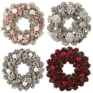 Festive Christmas Wreaths Decorative Pine Cone Door Flower Ornaments 24-34cm NEW