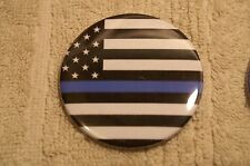 Blue Line Flag Fallen Police Officer Pin On Button 2 1/4""
